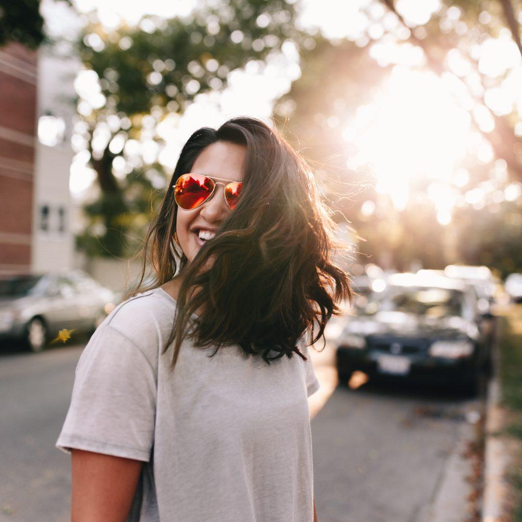 woman wearing sunglasses in sunlight